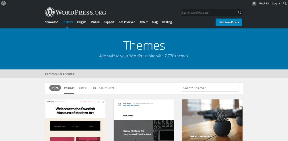 changer votre thème WordPress en toute sécurité - Telecharger theme gratuit wordpress.org