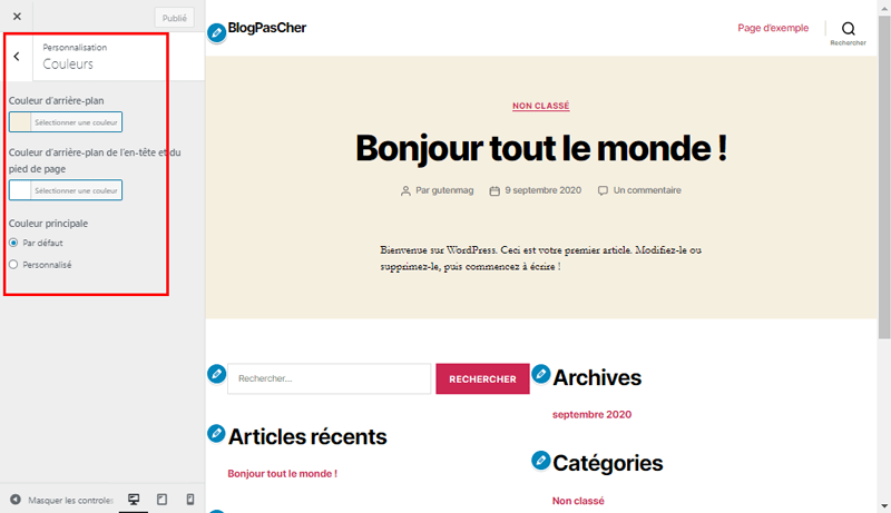 Theme wordpress customizer couleur blogpascher