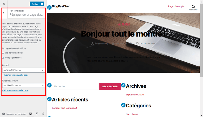 Theme wordpress customizer page accueil blogpascher