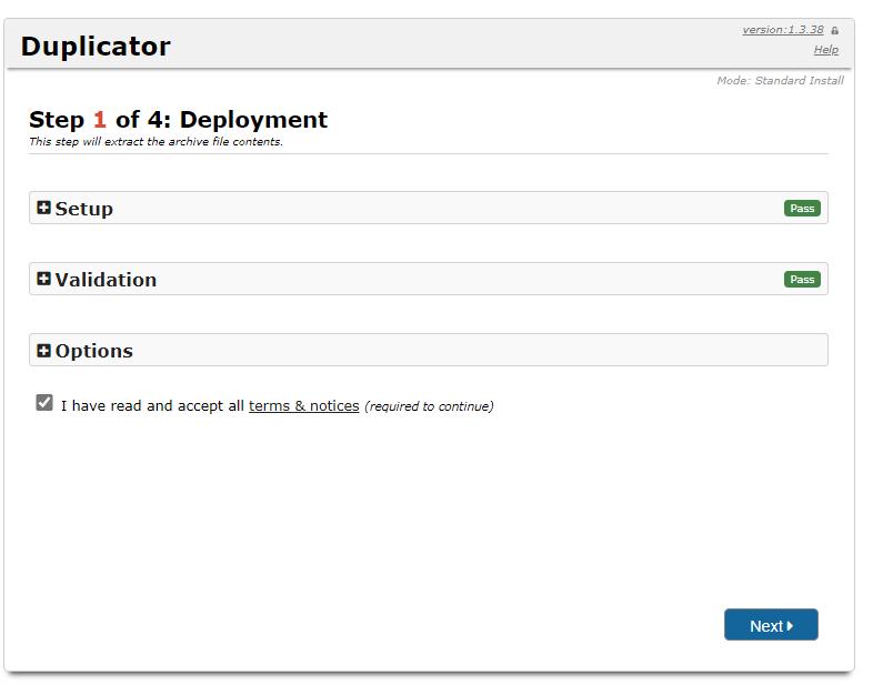 installation de site web sauvegardé avec duplicator