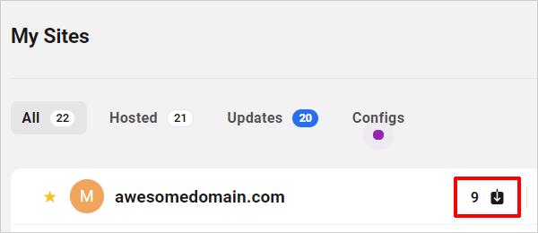 Le Hub - Notifications de mise à jour de mes sites.
