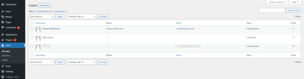 Une liste de tous les utilisateurs d'un site WordPress