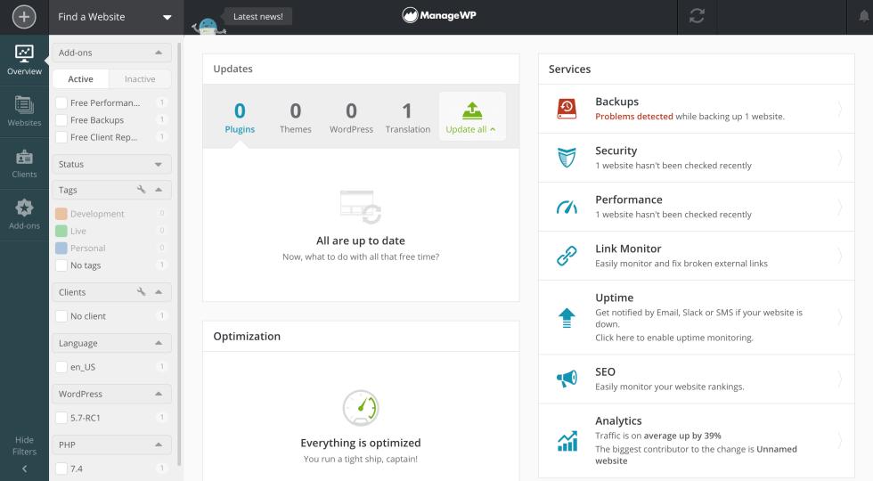 Planification des tâches de votre agence WordPress dans le tableau de bord ManageWP.