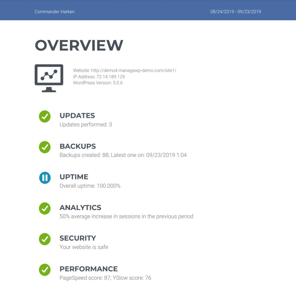 Un rapport client créé pour une agence WordPress.