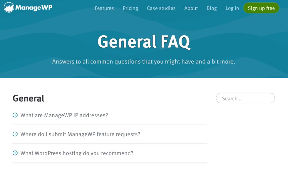 Page d'assistance client de ManageWP.