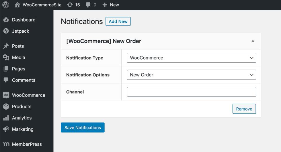 Créer une notification Slack pour votre site Web WordPress.