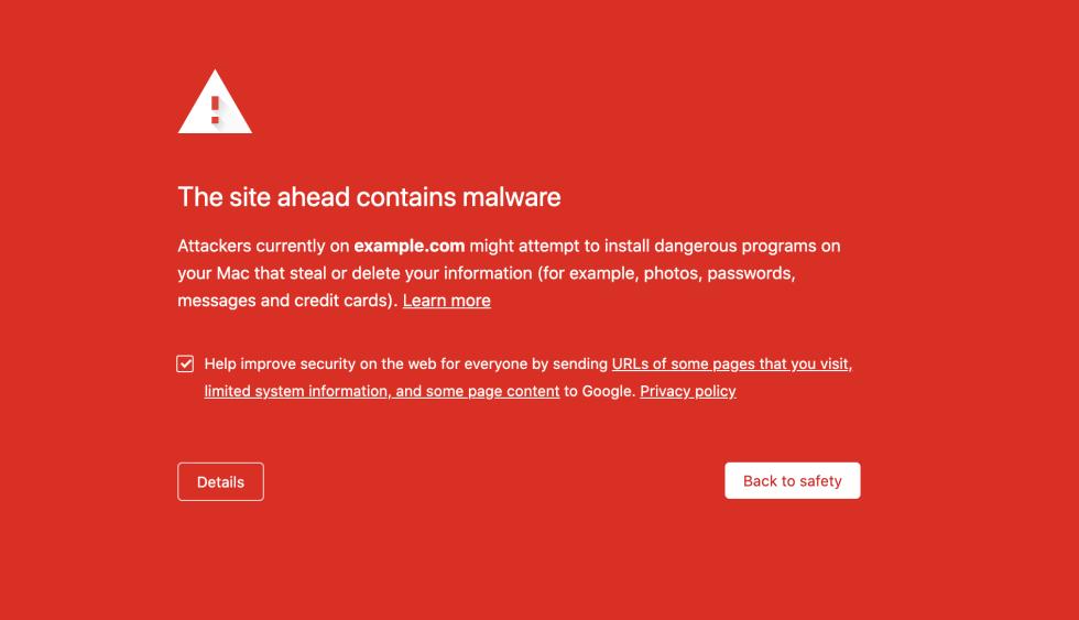 Un avertissement de programme malveillant de liste noire dans Google Chrome.