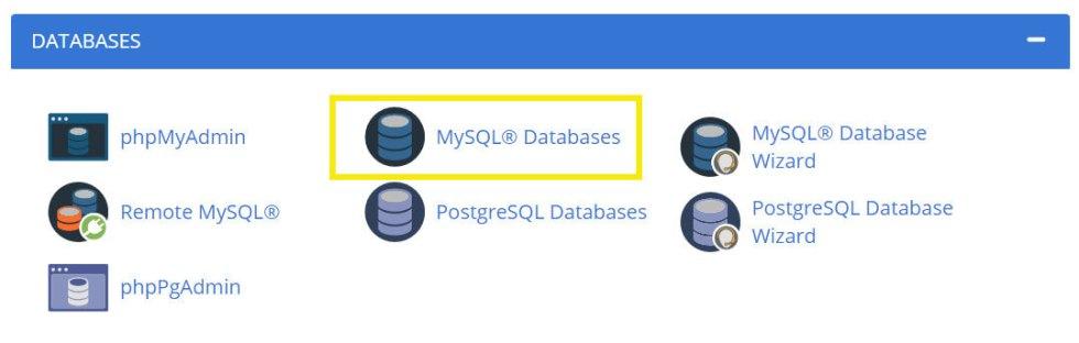 Bases de données MySQL dans cPanel.