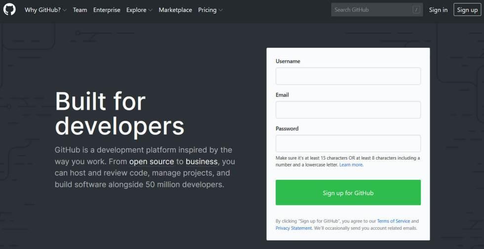 La page d'accueil de GitHub.