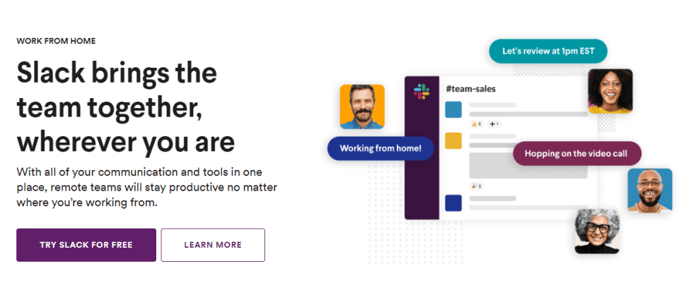 La page d'accueil de Slack.