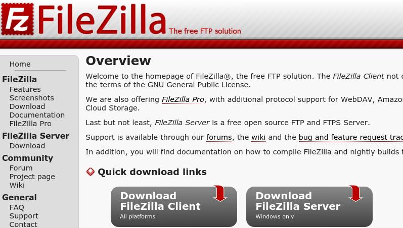 Options de téléchargement de FileZilla.