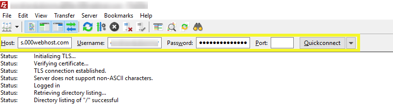Identifiants de connexion sur FileZilla.