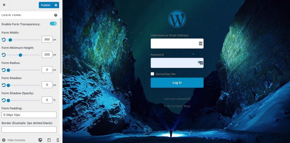 Une page de connexion WordPress personnalisée avec un formulaire transparent.