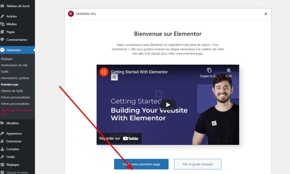 créer votre première page avec Elementor