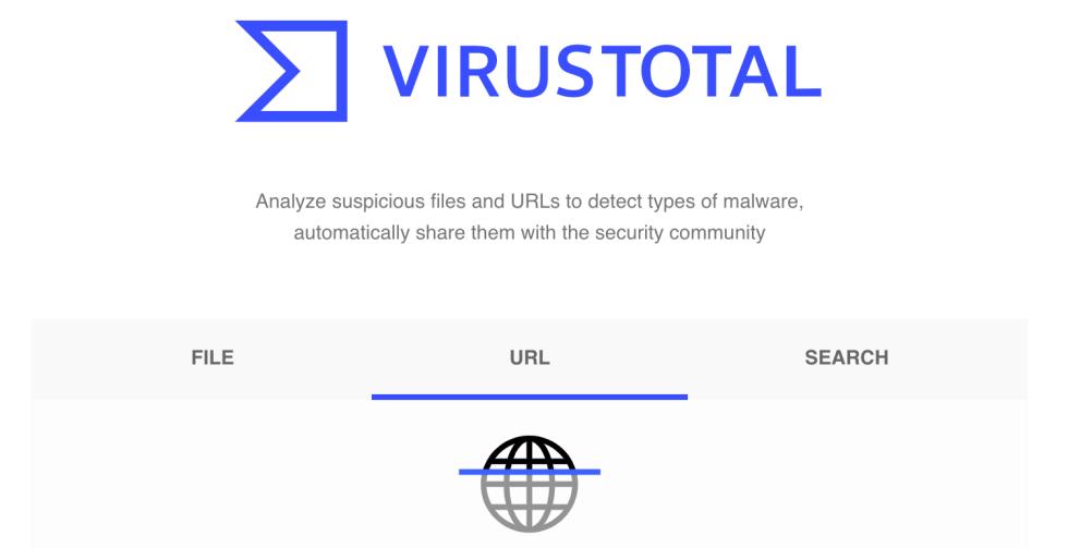 Le site Web de VirusTotal.