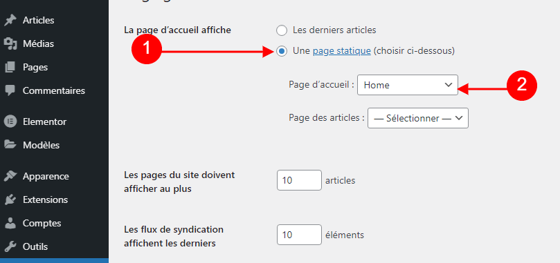 page Elementor comme page d'accueil