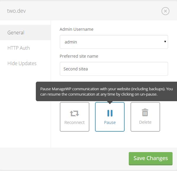 Suspendre l'option de site Web