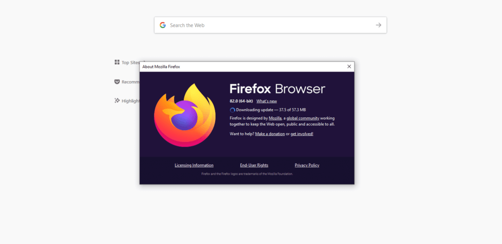 La fenêtre du navigateur Firefox informant l'utilisateur que les mises à jour sont en cours de téléchargement.