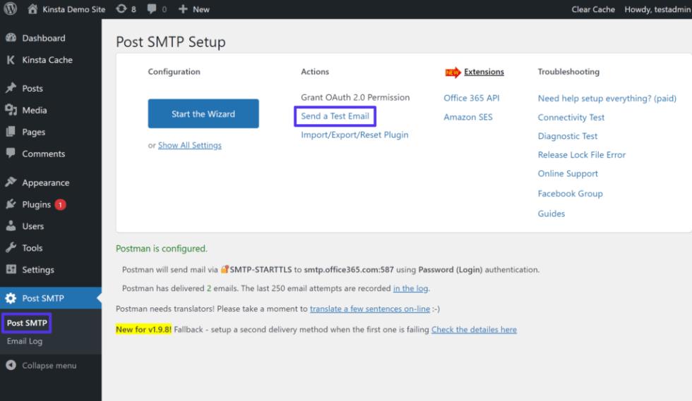 Comment accéder à la fonction de test de messagerie de Post SMTP