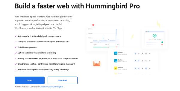 Un aperçu de la page de destination de notre plugin d'optimisation des performances, Hummingbird