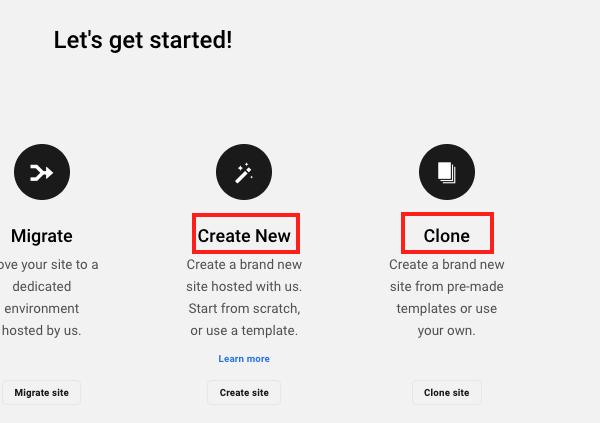 Un écran affichant les options pour créer ou cloner un nouveau site