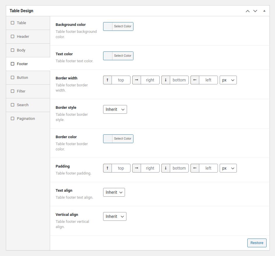 Options de conception de la table des messages Wpvast
