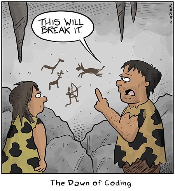 Image amusante d'hommes des cavernes parlant de l'aube du codage.