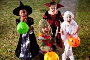 Trick or Treat kids in costumes