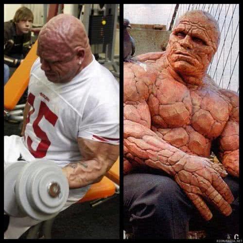 傑瑞酷似電影《驚奇4超人》中的「石頭人」