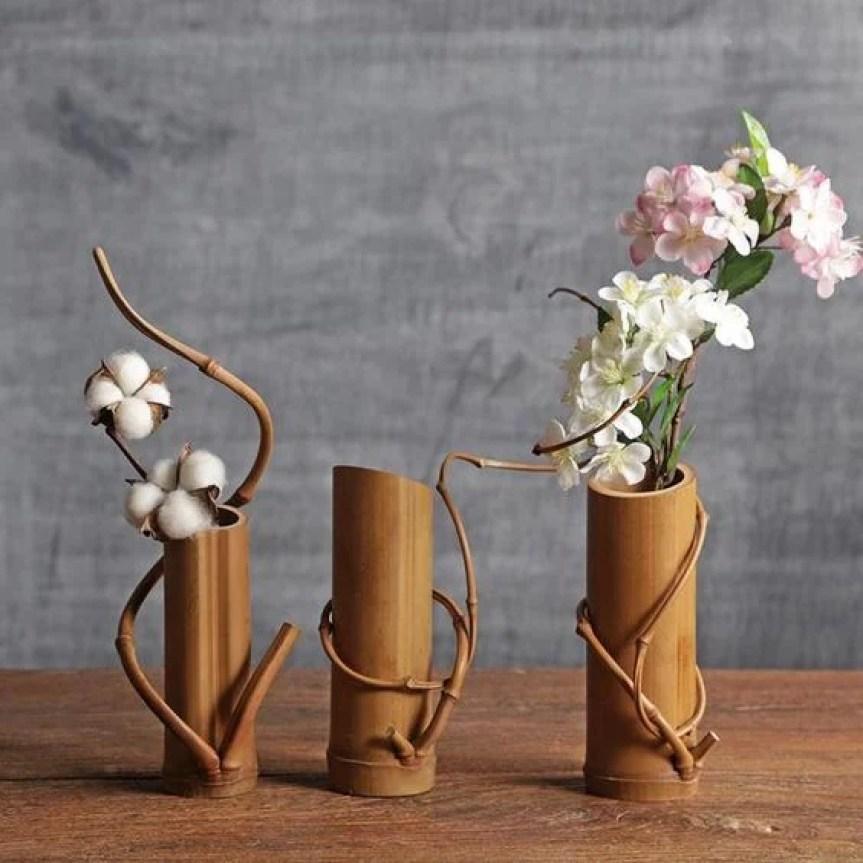 vas bunga dari bambu unik