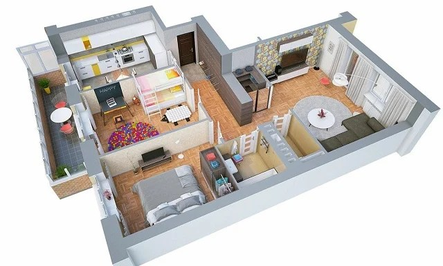 7 Denah Rumah Minimalis 2 Kamar yang Nyaman & Hemat Tempat