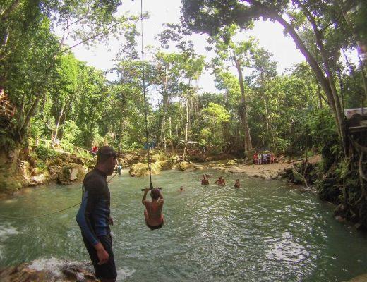 Ocho Rios Jamaica swinging in the blue hole
