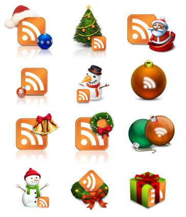 Новогодние иконки RSS от bizdesign.com.ua