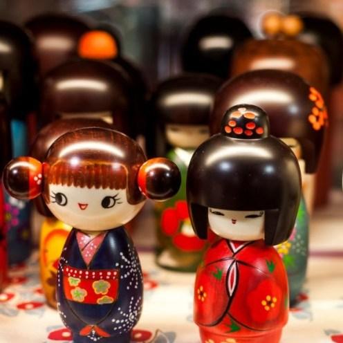 Japanese wooden dolls, Akihabara, Tokyo, Japan