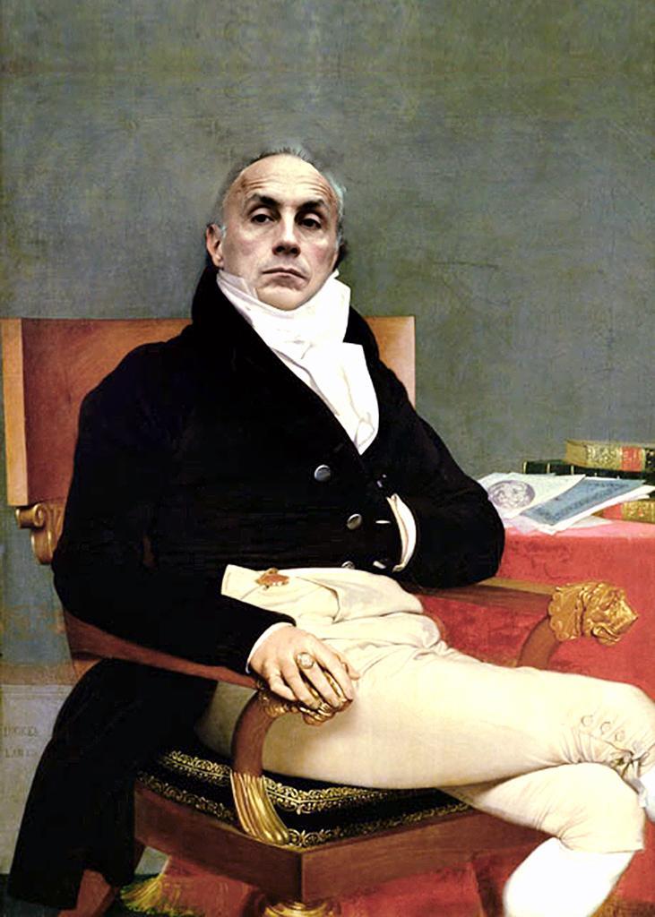 Dante Gurrieri fotomontaggio Marco Travaglio da Ritratto di Philibert Riviere 1805 J.A.D. Ingres.jpg