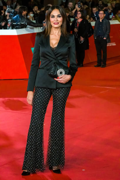 Maria Grazia Cucinotta attends the ''Motherless Brooklyn'' red carpet during the 14th Rome Film Festival on October 17, 2019 in Rome, Italy. (Photo by Mauro Fagiani/NurPhoto via Getty Images)