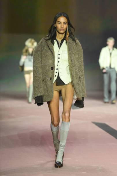 MILAN, ITALY - JANUARY 10: A model walks the runway at the Dsquared2 fashion show on January 10, 2020 in Milan, Italy. (Photo by Daniele Venturelli/Daniele Venturelli/WireImage )