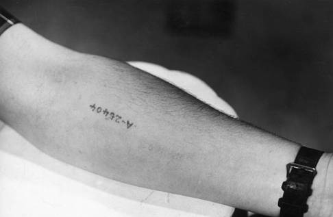 circa 1945: Closeup of a serial number tattooed on the inside of the arm of a former prisoner of the Auschwitz death camp in Poland, World War II. (Photo by Hulton Archive/Getty Images)