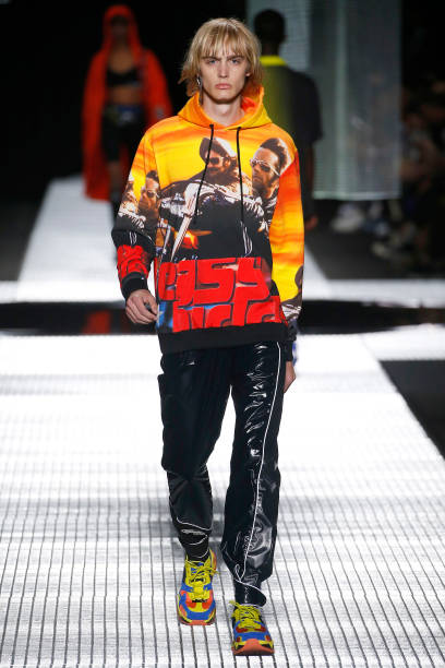 MILAN, ITALY - JUNE 15: A model walks the runway at the Marcelo Burlon County Of Milan fashion show at the Milan Men's Fashion Week Spring/Summer 2020 on June 15, 2019 in Milan, Italy. (Photo by Estrop/Getty Images)