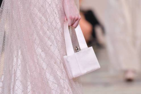 PARIS, FRANCE - JULY 02: A model (bag detail) walks the runway during the Giorgio Armani Prive Haute Couture Fall/Winter 2019 2020 show as part of Paris Fashion Week on July 02, 2019 in Paris, France. (Photo by Stephane Cardinale - Corbis/Corbis via Getty Images)