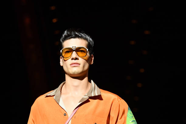 MILAN, ITALY - JUNE 15: A model, sunglasses details, walks the runway at the Dolce & Gabbana fashion show during the Milan Men's Fashion Week Spring/Summer 2020 on June 15, 2019 in Milan, Italy. (Photo by Jacopo Raule/Getty Images)