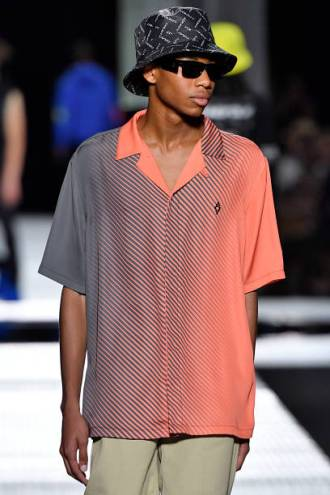 MILAN, ITALY - JUNE 15: A model walks the runway at the Marcelo Burlon County Of Milan fashion show at the Milan Men's Fashion Week Spring/Summer 2020 on June 15, 2019 in Milan, Italy. (Photo by Victor VIRGILE/Gamma-Rapho via Getty Images)