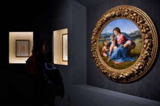 The great exhibition Raphael tribute to the five hundred years since his death was inaugurated at the Scuderie del Quirinale. In the photo the work of Raphael, Madonna with the child and San Giovannino. Rome (Italy), March 4th, 2020 (photo by Marilla Sicilia/Archivio Marilla Sicilia/Mondadori Portfolio via Getty Images)