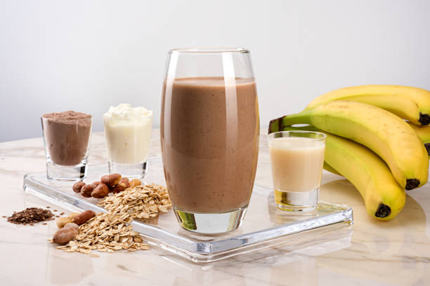 Protein drink with cacao oats nuts flaxseed and banana