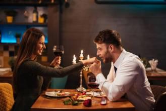 Couple having romantic dinner in a restaurant