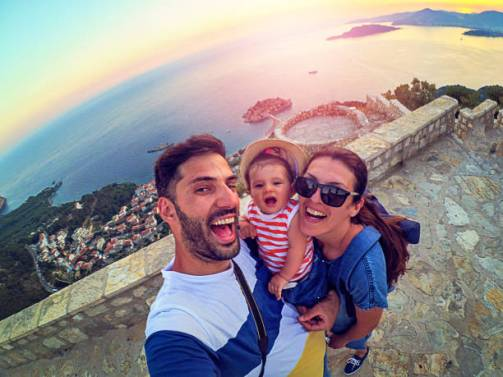 DCIM101MEDIAFamily with small daughter making selfie while travel