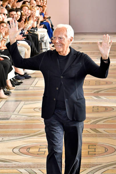 PARIS, FRANCE - JULY 02: Fashion designer Giorgio Armani walks the runway during the Giorgio Armani Prive Haute Couture Fall/Winter 2019 2020 show as part of Paris Fashion Week on July 02, 2019 in Paris, France. (Photo by Victor VIRGILE/Gamma-Rapho via Getty Images)