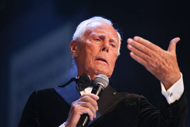 LONDON, ENGLAND - DECEMBER 02: Giorgio Armani, Winner of the Outstanding Achievement Award on stage during The Fashion Awards 2019 held at Royal Albert Hall on December 02, 2019 in London, England. (Photo by Lia Toby/BFC/Getty Images)