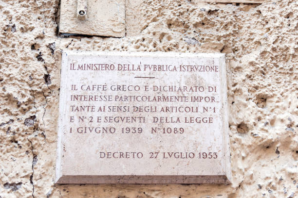 ROME, ITALY - OCTOBER 24: The plaque where it is written of the importance of the . Caffe Greco at the entrance of the Antico Caffe Greco, in Via dei Condotti, central Rome on October 24, 2019 in Rome, Italy. Caffe Greco opened in 1760 on the Via Condotti near the famous Spanish Steps. A row over a rent rise by the current owners, the Israelite Hospital, threatens the business as a judge ruled that the current manager, Antico Caffe Greco, should be evicted from the property. (Photo by Stefano Montesi - Corbis/Getty Images)