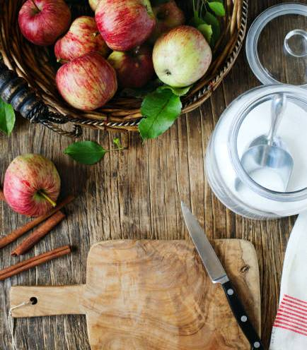 Fresh red apples, Apple pie baking concept, top view, copy space